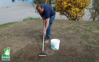 Rasen Nachsaat mit Mini-Spiker
